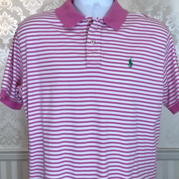 d6101d14 Men's Ralph Lauren Pink & White Striped Polo Shirt.  M_5af8c5318df4708c7ccec00b